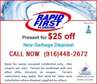 $25 Off New Garbage Disposal