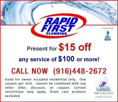 Save Dollars on Drain or Plumbing $15 Discount